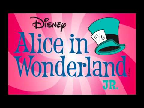 Photo saying Disney Alice in Wonderland Jr.pink background with turquoise hat