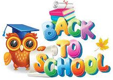 Back to School text in multi-color letters and owl with grad cap on head