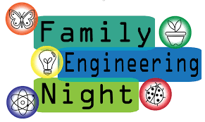 Blue & green graphic with science symbols & Family Engineering Night text