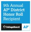 Blue background w white text 9th Annual AP District Honor Roll Recipient College Board & AP logos