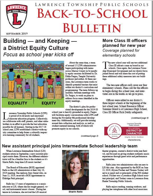 Back-To-School Bulletin 2019