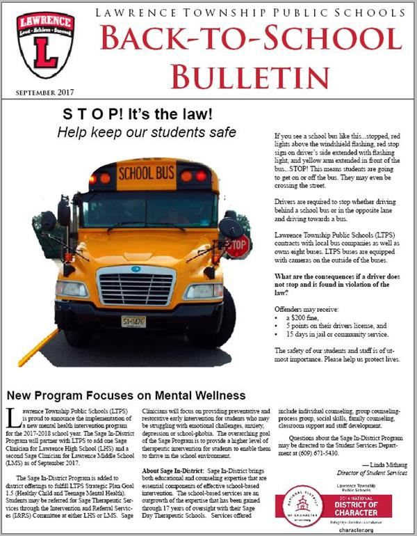 Photo of cover of Back-to-School Bulletin showing district masthead and logo