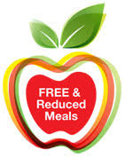 Clip art image of red apple w green leaves & text free & reduced meals