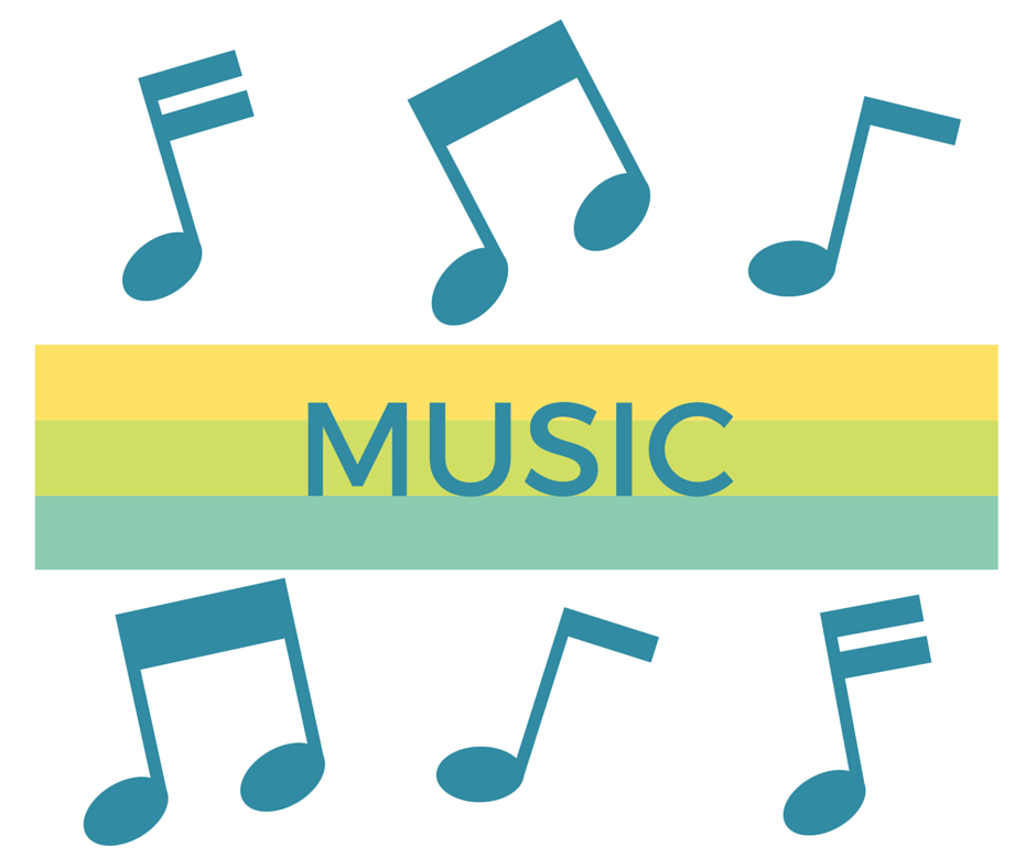 Teal  musical notes on white background with yellow & teal banner across center with text Music