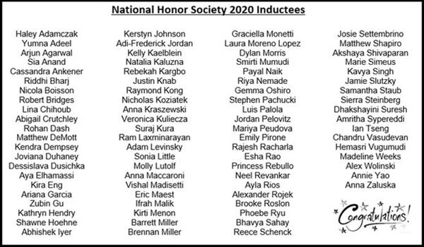 NHS 2020 Inductees