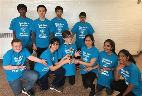 Science Bowl Team in blue T-shirts