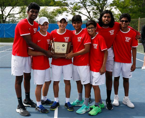 Lawrence Boys Tennis Group State Champions - credit Scott Faytok NJ Advance Media