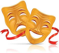 Gold colored thespian masks with red ribbons
