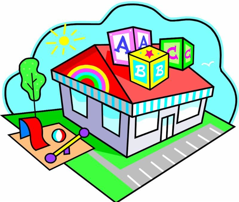 Colorful graphic of a preschool building with blocks on roof