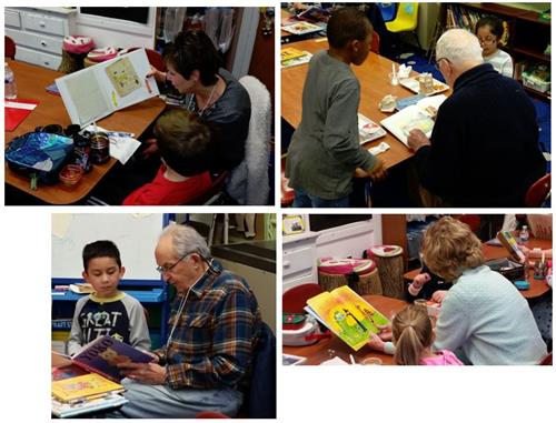 Collage of GrandPals reading to K students at Slackwood School