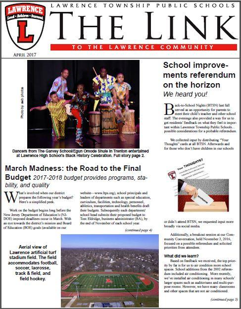 Graphic of the April 2017 The Link's front page